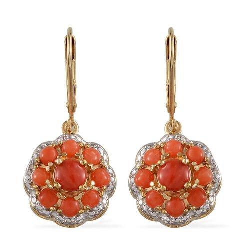 Natural Mediterranean Coral (Rnd) Earrings in 14K Gold Overlay Sterling Silver 2.250 Ct.