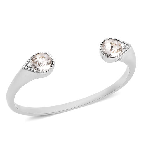 J Francis Crystal from Swarovski White Crystal Cuff Bangle (Size 7.5) in Stainless Steel