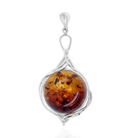 Natural Baltic Amber Pendant in Sterling Silver, Silver wt 16.14 Gms