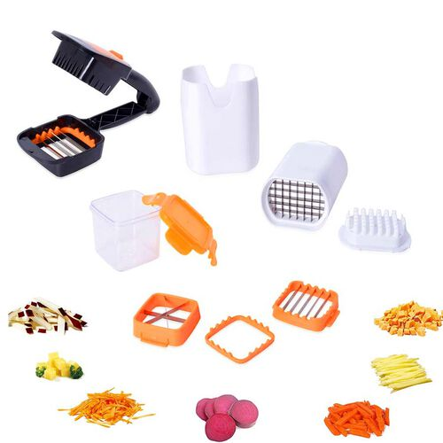 Multifunctional Vegetable Cutter (Size 21.5x4 Cm) and French Fries Chopper (Size 8x9x13 Cm) - Black,