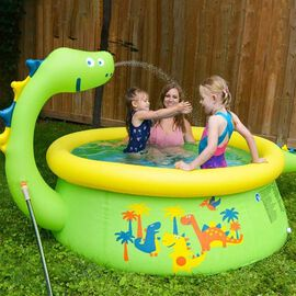 Inflatable Dinosaur Kids Swimming Pool with Spray (Size: 1.75mx62cm) - Green and Yellow
