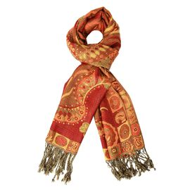 Red Colour Paisley Pattern Jacquard Tassel Scarf (Size 70x180+9 Cm)