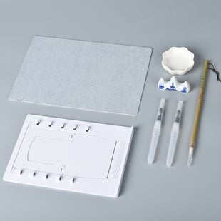 Reusable Water Drawing Board ( Incl. 2xWater Pen, 1xBrush Pen, 1xBoard Holder, 1xWater Plate, 1xPen
