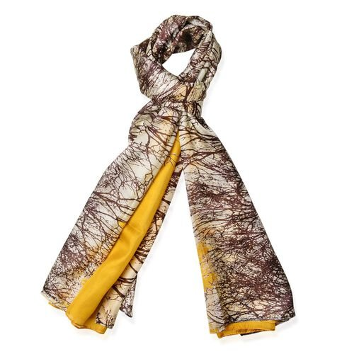 100% Mulberry Silk Brown, Cream and Yellow Colour Grove Pattern Scarf (Size 180x110 Cm)