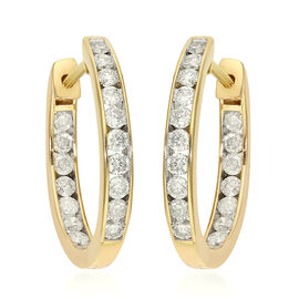 9K Yellow Gold SGL Certified Diamond (I3/G-H) Hoop Earrings 1.000  Ct.