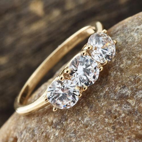 J Francis - ILIANA 18K Yellow Gold (Rnd) Trilogy Ring Made with SWAROVSKI ZIRCONIA