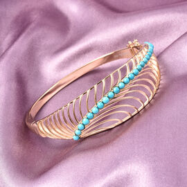 Isabella Liu Sea Rhyme Collection - Arizona Sleeping Beauty Turquoise Bangle (Size 7.5) in Yellow Gold Overlay Sterling Silver Silver Wt 27 grams