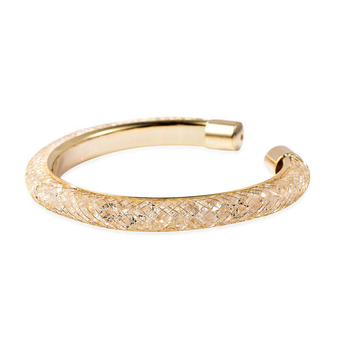 White Austrian Crystal Cuff Bangle (Size 7) in Yellow Gold Tone