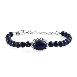Lapis Lazuli (Ovl 14x10 mm) Bead Bracelet (Size 7.5 with Extender) in Sterling Silver 42.25 Ct, Silv