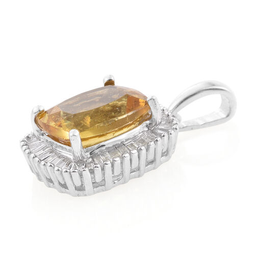 Rare Size Golden Honey Apatite (Cush 3.20 Ct), Diamond (G-H Colour) Pendant in Platinum Overlay Sterling Silver 3.500 Ct.