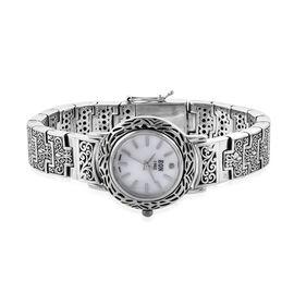 Royal Bali Collection EON 1962 Swiss Movement Sterling Silver Filigree Design Bracelet Watch (Size 7