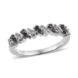 Black and White Diamond (Rnd) Ring in Platinum Overlay Sterling Silver 0.205 Ct.