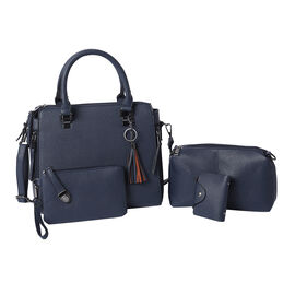 4 Piece Set - Navy Tote Bag, Crossbody Bag, Clutch Bag and Card Bag with Tassel Hanging