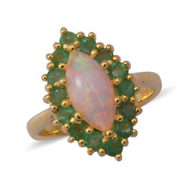 Ethiopian Welo Opal and Kagem Zambian Emerald Halo Marquise Ring in Yellow Gold Sterling Silver 2.13
