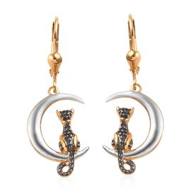 Platinum and Yellow Gold Overlay Sterling Silver Cat on Moon Lever Back Earrings