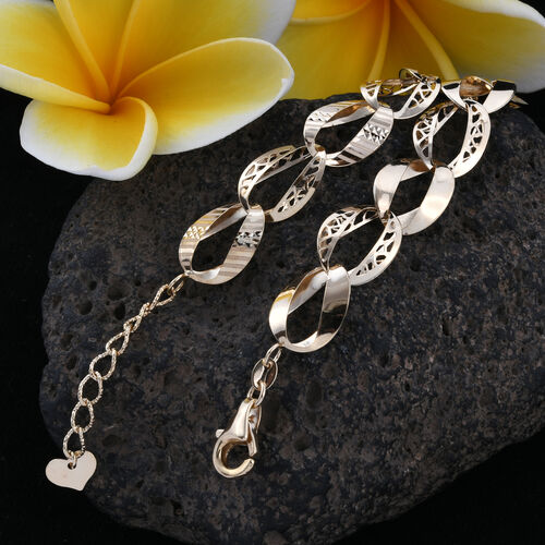 Royal Bali Collection 9K Yellow Gold Curb Link Bracelet (Size 7.5 and 1 inch Extender), Gold wt 5.58 Gms.