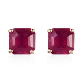 9K Yellow Gold African Ruby (Asscher Cut 6x6mm) Stud Earring (with Push Back) 3.00  Ct.