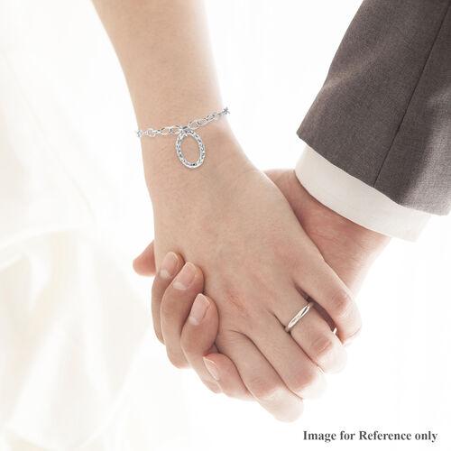 RACHEL GALLEY - Rhodium Overlay Sterling Silver Latticework Bracelet (Size 8)