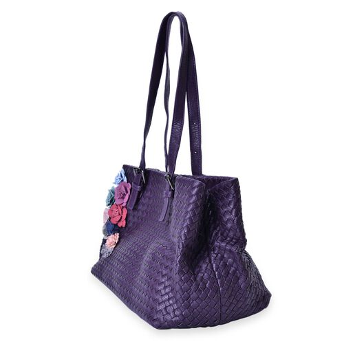 LIMITED COLLECTION Multi Colour 3D Floral and Woven Pattern Purple Colour Tote Bag (Size 39x23x22 Cm)