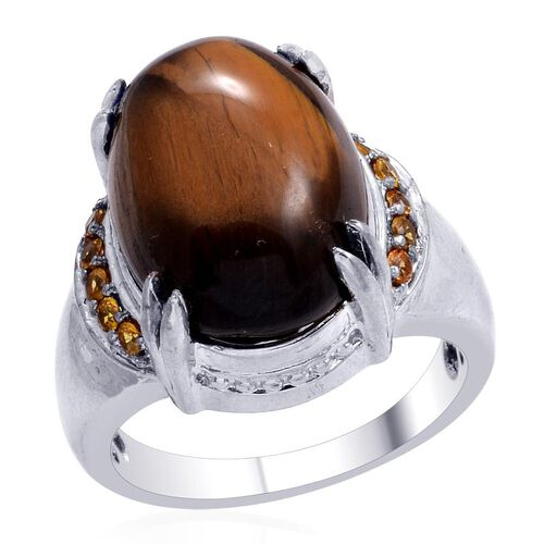 Designer Collection Tigers Eye (Ovl 15.00 Ct), Simulated Yellow Sapphire Ring in Platinum Bond 15.400 Ct.