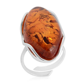 Baltic Amber Adjustable Solitaire Ring in Sterling Silver 7 Grams