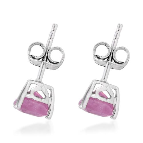 Pink Sapphire (Trl) Stud Earrings (with Push Back) in Platinum Overlay Sterling Silver 2.250 Ct.