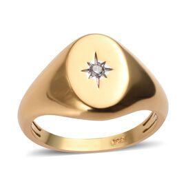 Diamond Mens Ring in Gold Plated Sterling Silver