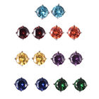 Set of 7 - Simulated Amethyst, Simulated Sky Blue Topaz and Multi Gemstone Earrings (with Push Back)