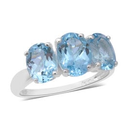 Sky Blue Topaz (Ovl) Three Stone Ring in Sterling Silver 5.15 Ct.