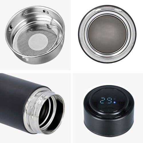 Smart Vacuum Insulated Water Bottle in Stainless Steel and Temperature Indicator - 480ml - Black