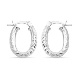Rhodium Overlay Sterling Silver Hoop Earrings (with Clasp)