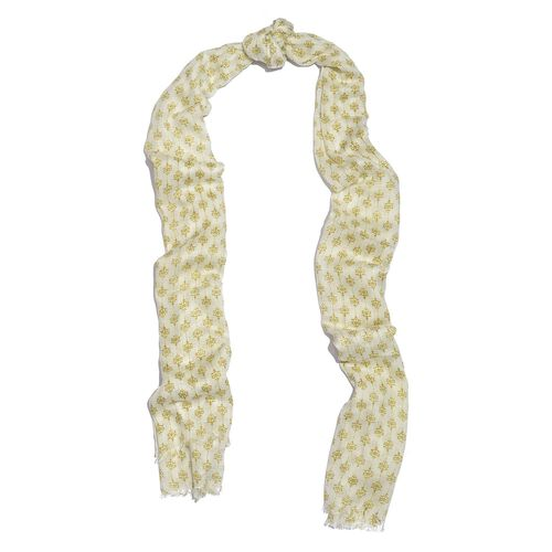 Designer Inspired-Henna Green and White Colour Ikat Pattern Scarf (Size 180x70 Cm)