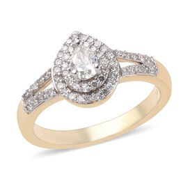 14K Yellow Gold SGL Certified Diamond (Pear and Rnd) (I1-I2/G-H-I) Ring 0.50 Ct.