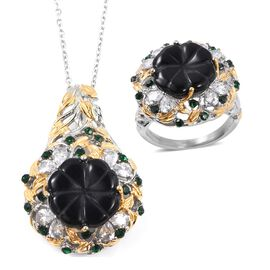 Carved Black Agate, Simulated Diamond and Green Austrian Crystal Ring and Pendant with Chain (Size 20) in Stainless Steel with White and Yellow Tone