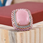 Peruvian Pink Opal (Cush 14.00 Ct), Pink Sapphire and Natural Cambodian Zircon Ring (Size R) in Rose Gold Overlay Sterling Silver 15.250 Ct, Silver wt 8.30 Gms
