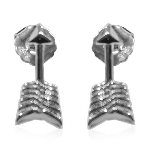 LucyQ Arrow Earrings (with Push Back) in Rhodium Plated Sterling Silver
