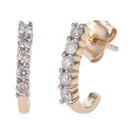 9K Yellow Gold SGL Certified Diamond (Rnd) (I3/G-H) J Hoop Earrings (with Push Back) 0.500 Ct.