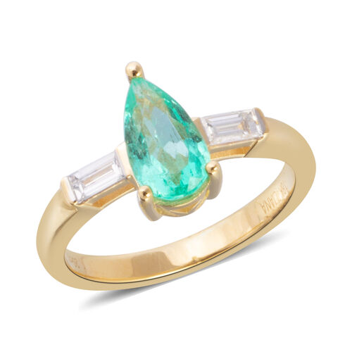 ILIANA 1.32 Ct AAA Emerald and Diamond 3 Stone Ring in 18K Gold 4.8 Grams SI GH
