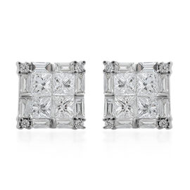 Super Auction-ILIANA 18K White Gold IGI Certified Diamond (Sqr) (SI/G-H) Stud Earrings (with Screw Back) 1.000 Ct.