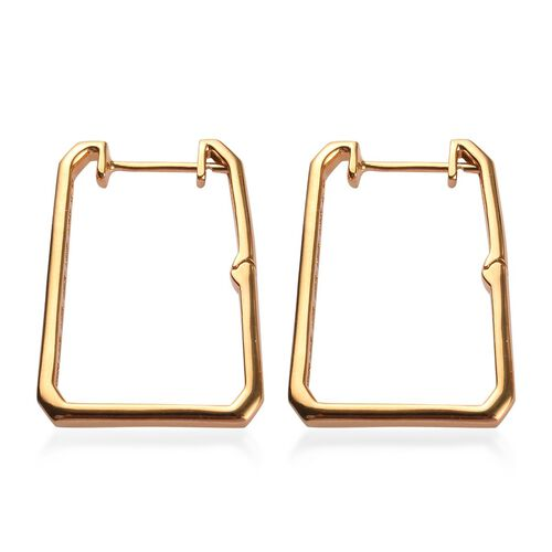 J Francis - 14K Yellow Gold Overlay Sterling Silver Square Hoop Earrings (with Clasp) Made with SWAROVSKI ZIRCONIA 1.25 Ct, Silver wt. 5.2 Gms