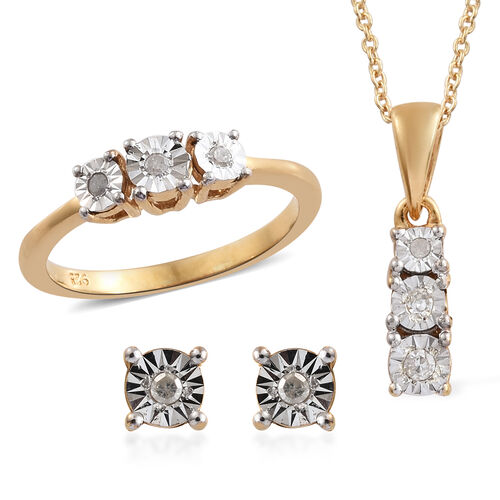 Set of 3 Diamond (Rnd) Ring, Earrings (with Push Back) and Pendant With Chain (Size 20) in 14K Gold and Platinum Overlay Sterling Silver 0.100 Ct.