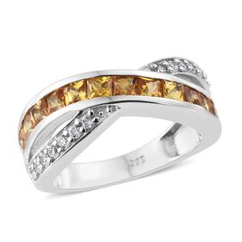 Yellow Sapphire (Sqr), Natural White Cambodian Zircon Ring in Platinum Overlay Sterling Silver 2.000