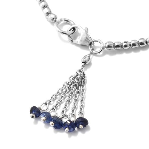 One Time Deal-Masoala Sapphire (Rnd) Bracelet (Size 7.5) with Lobster Lock in Platinum Overlay Sterling Silver 1.000 Ct.