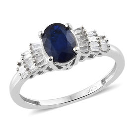 1 Carat Blue Spinel and Diamond Ballerina Ring in Sterling Silver