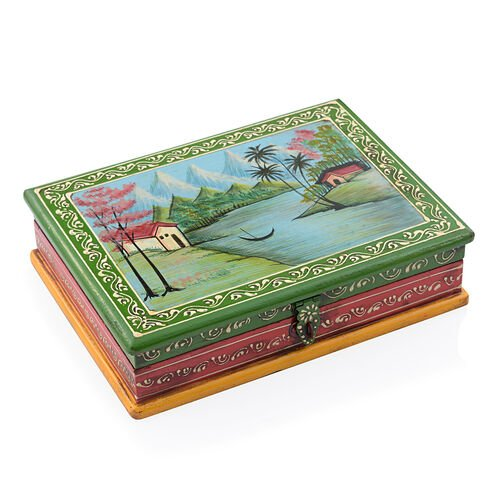 Natural Scene Vibrant Colour Hand painted Storage Jewellery  Box