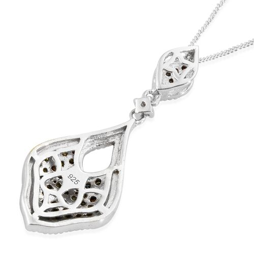 Designer Inspired-Rainbow Colour Diamond (Rnd) Pendant with Chain in Platinum Overlay Sterling Silver 0.501 Ct.
