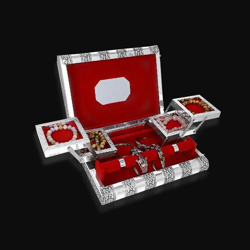 3D Embossed Collection Handcrafted Elephant Oxidised Jewellery Box (Size 27.5x19 Cm) with Mirror and Red Velvet Interior