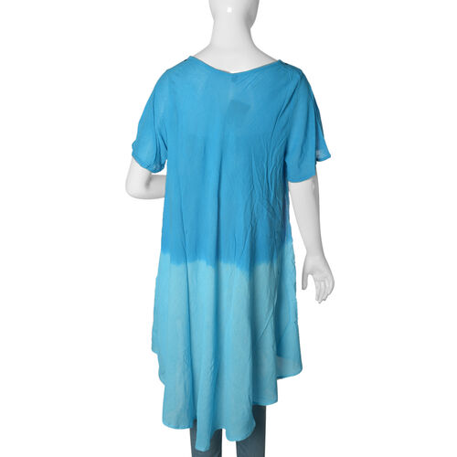 New for Spring- Dark and Light Blue Dip dye Tunic Top with Hand Embroidery - One size to fit most