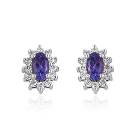 RHAPSODY 950 Platinum AAAA Tanzanite (Ovl), Diamond (VS/E-F) Stud Earrings (with Screw Back) 0.750 Ct.