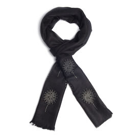 New Zealand Super Fine Merino Wool and Silk Black Colour Scarf Hand Stitched Sequin Work (Size 200x7